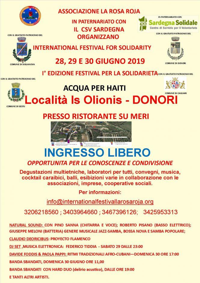 28-29-30 GIUGNO 2019_INTERNATIONAL FESTIVAL FOR SOLIDARITY – ACQUA PER HAITI