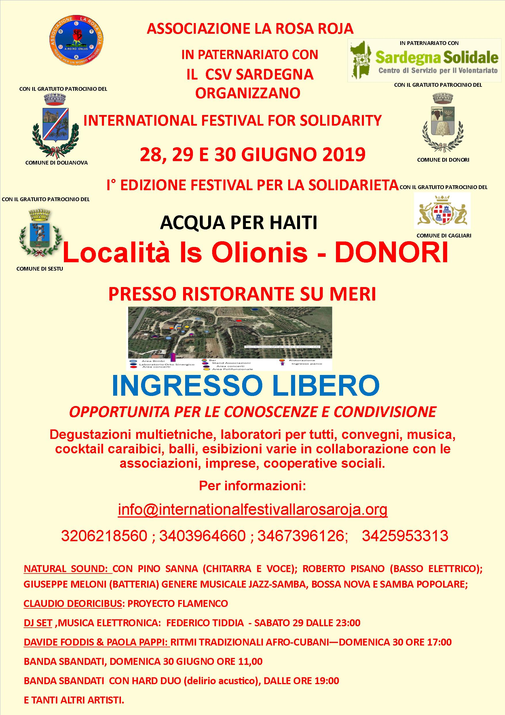 28-29-30 GIUGNO 2019_INTERNATIONAL FESTIVAL FOR SOLIDARITY – ACQUA PER HAITI